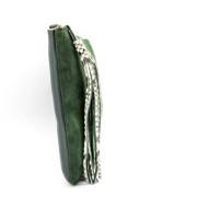 cartera plana grande ante verde oscuro piton 2